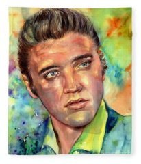 Elvis Presley Watercolor Fleece Blanket
