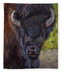 Elvis The Bison Fleece Blanket