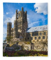 Ely Cathedral And Garden Fleece Blanket