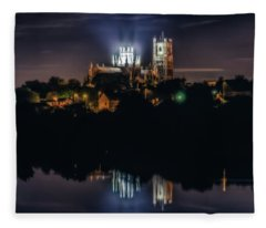 Ely Cathedral By Night Fleece Blanket