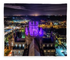 Ely Cathedral In Purple Fleece Blanket