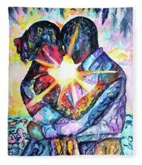 Embracing Couple In Love Fleece Blanket