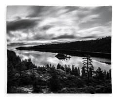 Emerald Bay Rays Black And White By Brad Scott Fleece Blanket