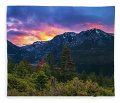 Emerald Bay Secret Sunset Panorama By Brad Scott Fleece Blanket