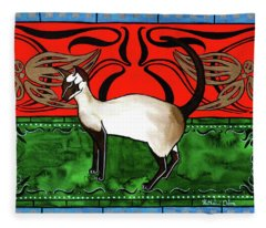 Emerald Meets Siamese Fleece Blanket