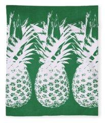 Emerald Pineapples- Art By Linda Woods Fleece Blanket