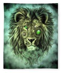 Emerald Steampunk Lion King Fleece Blanket