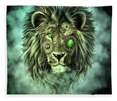 Emerald Steampunk Lion King Fleece Blanket