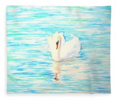 Emerald Swan Fleece Blanket