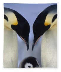 Emperor Penguin Family Fleece Blanket