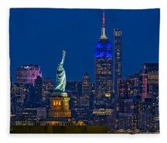 Empire State And Statue Of Liberty II Fleece Blanket
