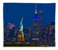 Empire State And Statue Of Liberty II Fleece Blanket
