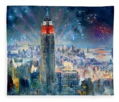Empire State Building In 4th Of July Fleece Blanket