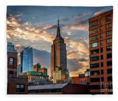 Empire State Building Sunset Rooftop Fleece Blanket