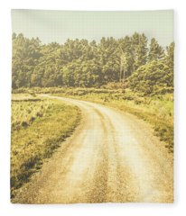 Empty Curved Gravel Road In Tasmania, Australia Fleece Blanket