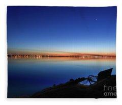 Empty Seat Watching The Moon Fleece Blanket