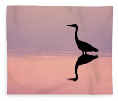 Empty Spaces - Grey Heron Silhouette Fleece Blanket