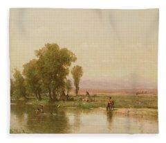 Encampment On The Platte River Fleece Blanket