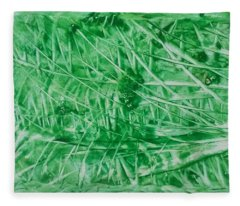 Encaustic Abstract Green Foliage Fleece Blanket