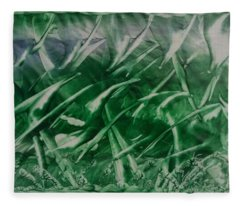 Encaustic Green Foliage With Some Blue Fleece Blanket