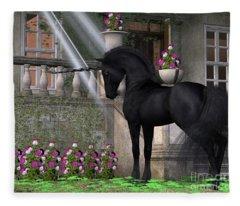 Enchanted Dark Unicorn Fleece Blanket