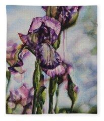 Enchanted Iris Garden Fleece Blanket