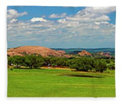 Enchanted Rock And Texas Hill Country Ranch Panorama IIi Fleece Blanket