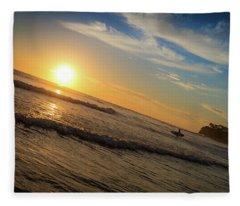 End Of Summer Sunset Surf Fleece Blanket