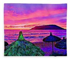 End Of The Beach Day In Mazatlan Fleece Blanket