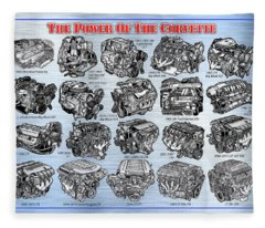 Eng-19_corvette-engines Fleece Blanket