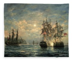 Engagement Between The 'bonhomme Richard' And The ' Serapis' Off Flamborough Head Fleece Blanket