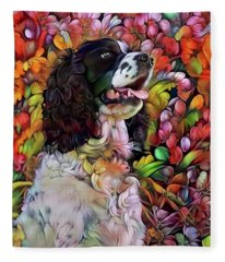 English Springer Spaniel In The Garden Fleece Blanket