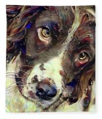 English Springer Spaniel Soulful Stare Fleece Blanket