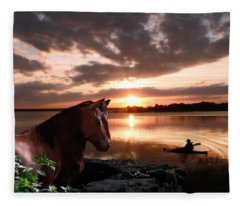 Enjoying The Sunset Fleece Blanket