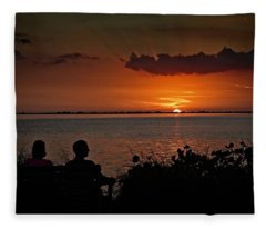 Enjoying The Sunset Fleece Blanket