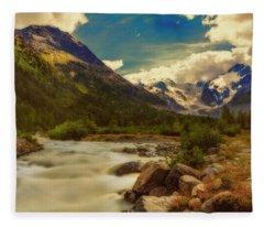Eno Stream At Morteratsch Glacier Fleece Blanket