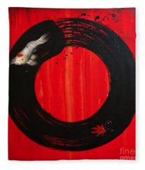 Enso With Koi Red And Gold Fleece Blanket