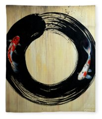 Enso With Koi Fleece Blanket