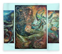 Entangled Mermaid Tryptich Fleece Blanket