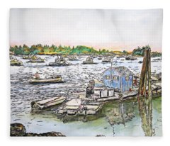 Entering Vinal Haven, Maine Fleece Blanket