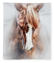 Equine Portrait Beautiful Thoroughbred Horse Head Fleece Blanket