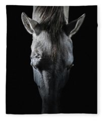 Equine Portrait White Horse Head On Top Fleece Blanket
