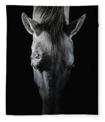 Equine Portrait White Horse Head On Top Fleece Blanket
