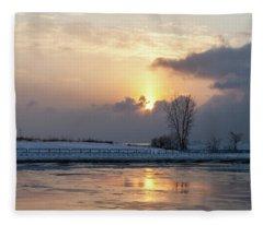 Erie Sunset On Lake Michigan Fleece Blanket