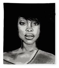 Erykah Baduism - Pencil Drawing From Photograph - Charcoal Pencil Drawing By Ai P. Nilson Fleece Blanket