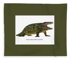 Eryops Dinosaur Side Profile Fleece Blanket