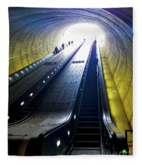 Escalator In Washington Dc Potomac Ave Fleece Blanket