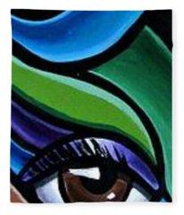 Colorful Abstract Art Painting, Modern Art Brown Eye Art Paintings Fleece Blanket