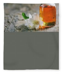 Essential Oil With Jasmine Flower Fleece Blanket