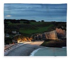 Etretat In The Evening Fleece Blanket